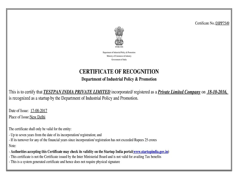 Certificate of Recognition by Department for Promotion of Industry and Internal Trade-DIPP7549