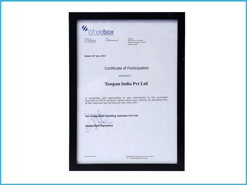 Wheebox Participation Certificate Image
